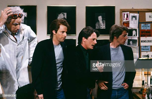 Kevin Nealon as Doc Dana Carvey as Michael J Fox Michael J Fox David Spade as Michael J Fox during the Monologue on March 16 1991