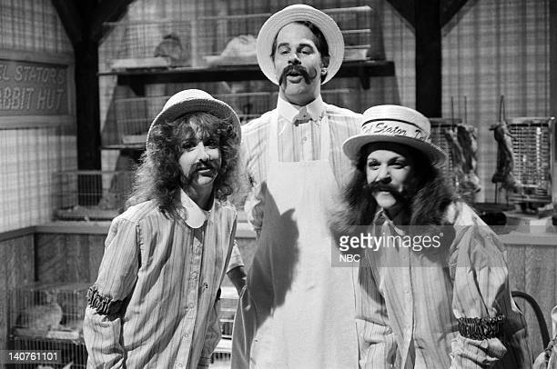 Laraine Newman as Stator girl Dan Aykroyd as Del Stator Gilda Radner as Stator girl during the 'Del Stator's Rabbit Hut' skit on March 25 1978 Photo...
