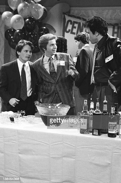 Michael J Fox as Ronnie Stilson Dana Carvey as Brian Grady Kevin Nealon as Nick DeCesare during the 'Central High Class Reunion' skit on March 16 1991