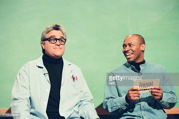 Host Jay Leno bandleader Kevin Eubanks during 'Mr Brain' skit on December 4 1998