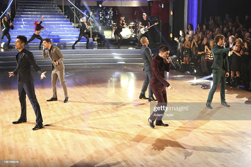 SHOW - 'Episode 1509A' - The UK's new boyband sensation, The Wanted, performed a medley of their current single 'I Found You' and their biggest hit, 'Glad You Came,' on 'Dancing with the Stars: All-Stars -- The Results Show,' TUESDAY, NOVEMBER 20 (8:00-9:01 p.m., ET), on ABC. (Adam Taylor ABC/ via Getty Images) THE
