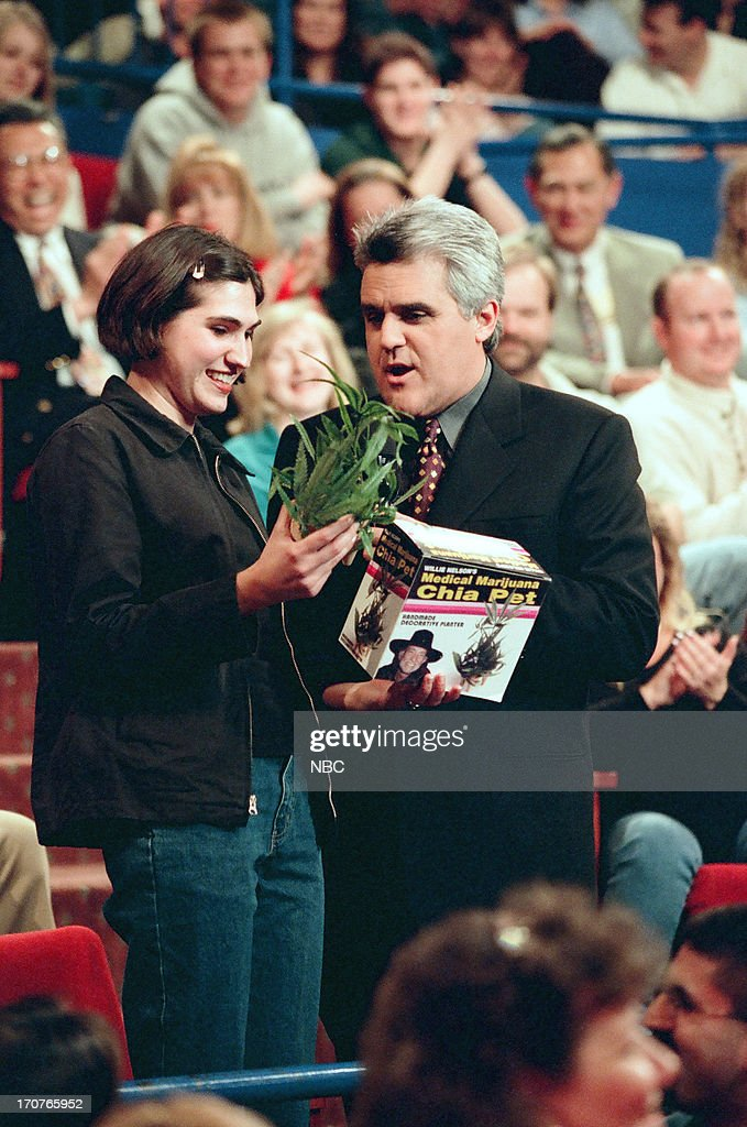 Host Jay Leno with audience members on January 8, 1999 --