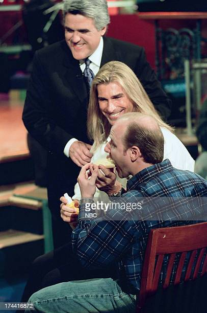 Host Jay Leno Fabio audience member during an 'I Can't Believe It's Not Butter' walkon skit February 4 1999