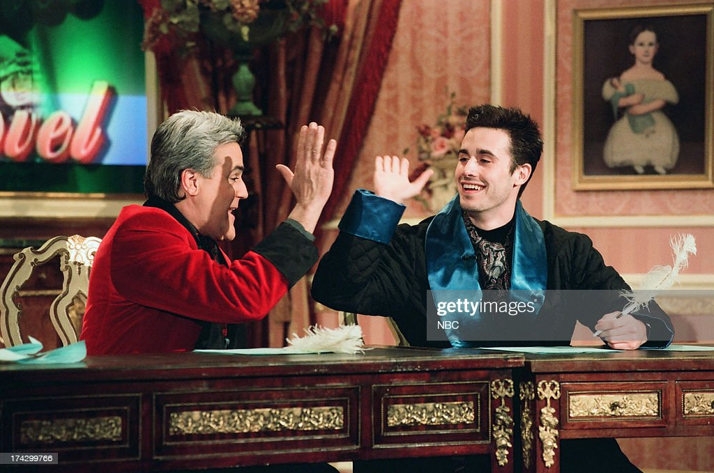 Host Jay Leno, <a gi-track='captionPersonalityLinkClicked' href=/galleries/search?phrase=Freddie+Prinze+Jr.&family=editorial&specificpeople=216504 ng-click='$event.stopPropagation()'>Freddie Prinze Jr.</a>, during 'My Romance Novel' skit on February 10, 1999 --
