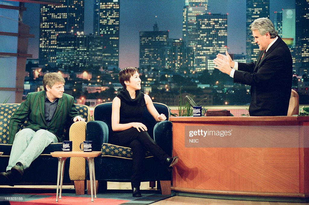 Actor/comedian <a gi-track='captionPersonalityLinkClicked' href=/galleries/search?phrase=Dave+Foley+-+Actor&family=editorial&specificpeople=15013533 ng-click='$event.stopPropagation()'>Dave Foley</a>, figure skater <a gi-track='captionPersonalityLinkClicked' href=/galleries/search?phrase=Michelle+Kwan&family=editorial&specificpeople=201485 ng-click='$event.stopPropagation()'>Michelle Kwan</a>, host Jay Leno during an interview on February 16, 1999 --