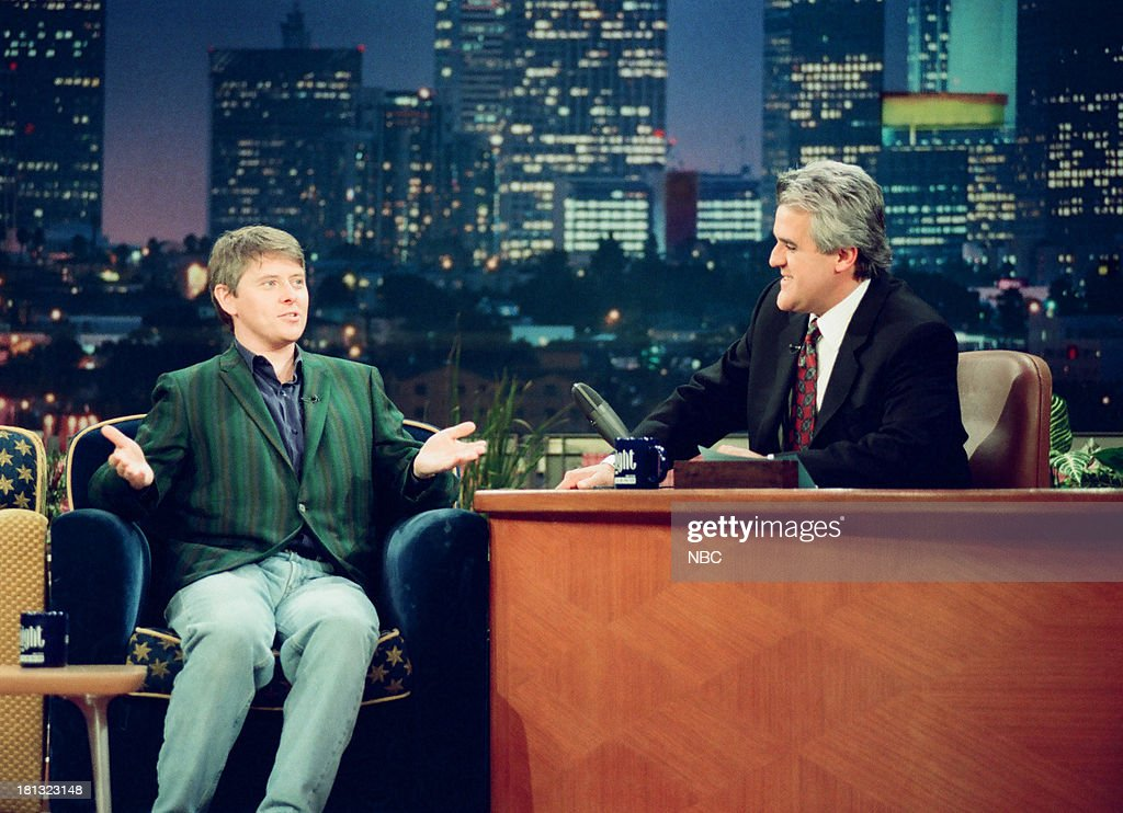 Actor/comedian <a gi-track='captionPersonalityLinkClicked' href=/galleries/search?phrase=Dave+Foley+-+Actor&family=editorial&specificpeople=15013533 ng-click='$event.stopPropagation()'>Dave Foley</a>, host Jay Leno during an interview on February 16, 1999 --
