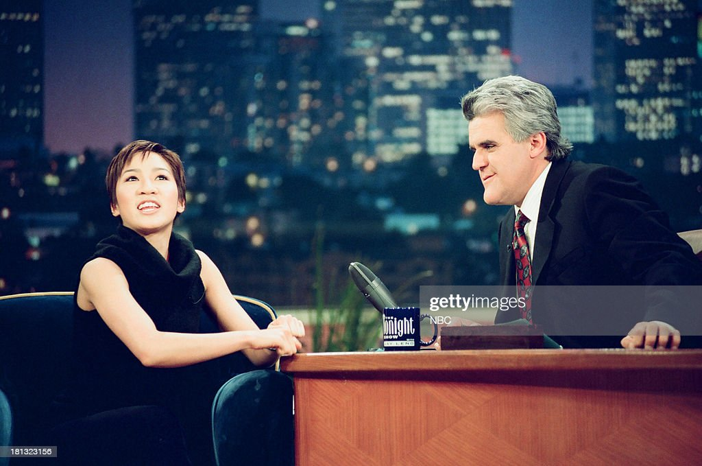 Figure skater <a gi-track='captionPersonalityLinkClicked' href=/galleries/search?phrase=Michelle+Kwan&family=editorial&specificpeople=201485 ng-click='$event.stopPropagation()'>Michelle Kwan</a>, host Jay Leno during an interview on February 16, 1999 --