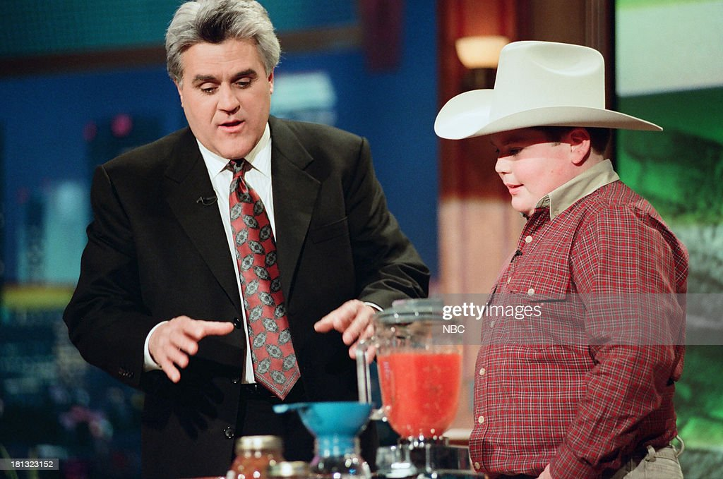 Host Jay Leno, Casey Anderson with salsa during the 'Kids Show 'n' Tell' segment on February 16, 1999 --