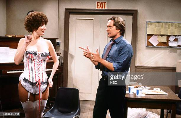 Mary Gross as applicant and Michael Douglas as Mr Sullivan during the 'Annie Audition' skit on April 7 1984