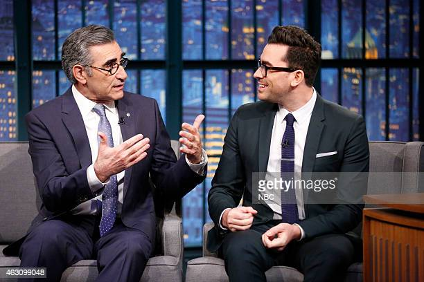 Actors Eugene Levy Daniel Levy during an interview on January 9 2015
