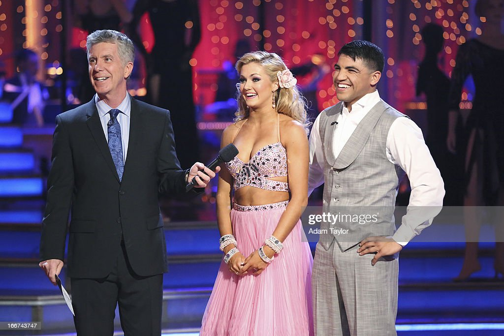 STARS - 'Episode 1605' - Nine remaining couples hit the dance floor and faced an exciting new challenge MONDAY, APRIL 15 (8:00-10:01 p.m., ET). In another first for 'Dancing with the Stars,' a new twist called 'Len's Side By Side Challenge' tasked each couple to perform a portion of their individual dance alongside a pro dance couple. TOM