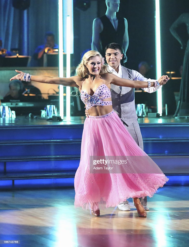 STARS - 'Episode 1605' - Nine remaining couples hit the dance floor and faced an exciting new challenge MONDAY, APRIL 15 (8:00-10:01 p.m., ET). In another first for 'Dancing with the Stars,' a new twist called 'Len's Side By Side Challenge' tasked each couple to perform a portion of their individual dance alongside a pro dance couple. ORTIZ