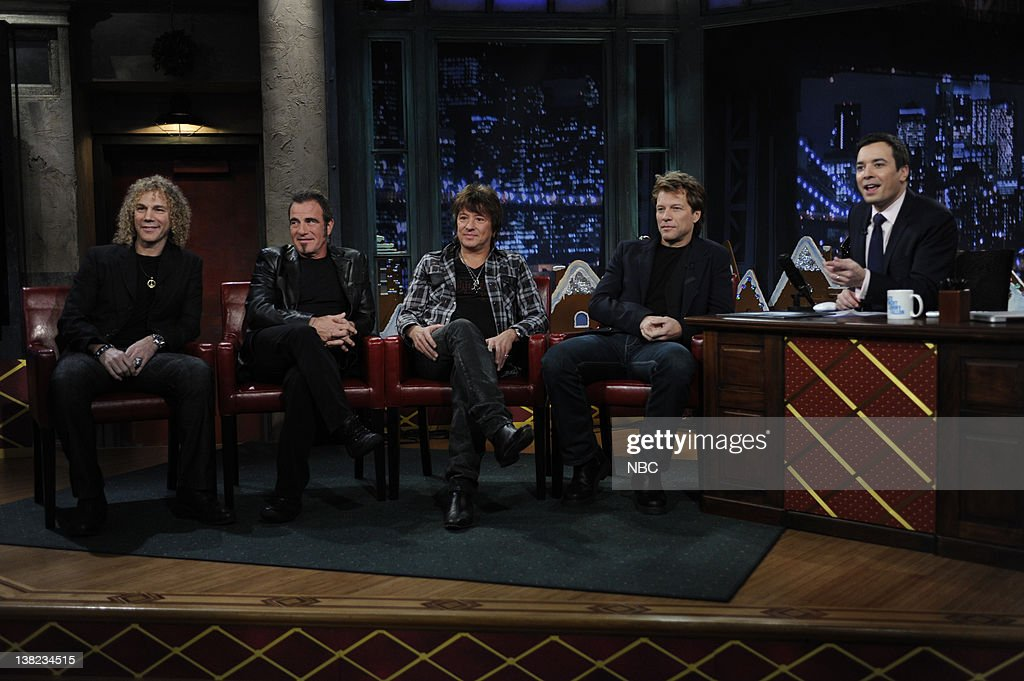 FALLON Episode 162 Airdate 12/9/2009 Pictured Musical guest Bon Jovi during an interview with host Jimmy Fallon on December 9 2009