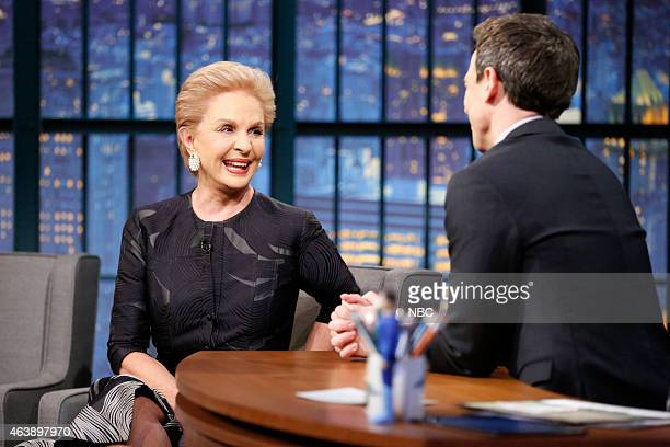 Fashion designer Carolina Herrera during an interview with host Seth Meyers on February 19 2015