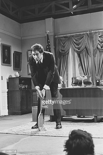 LIVE Episode 17 Air Date Pictured Chevy Chase as Presiden Gerald Ford during 'An Oval Office' skit on April 17 1976