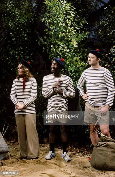 LIVE Episode 17 Aired Pictured Jane Curtin as Claire Garrett Morris as Alvin Williams Bill Murray as Luke Johnson during 'Camp Beau Soleil' skit