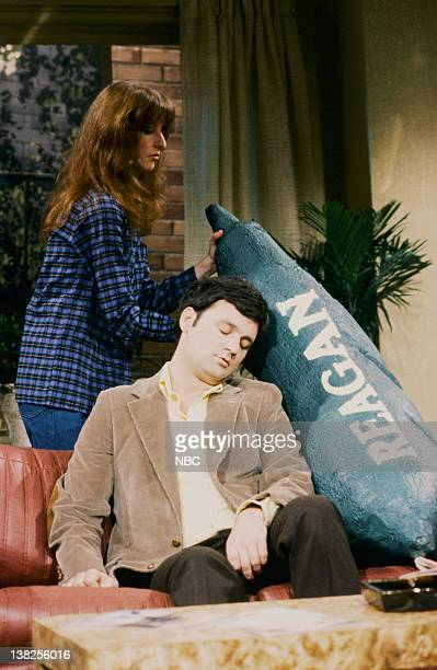 LIVE Episode 17 Aired Pictured Laraine Newman as Sue Bill Murray as Bob during 'Invasion of the Brain Snatchers' skit