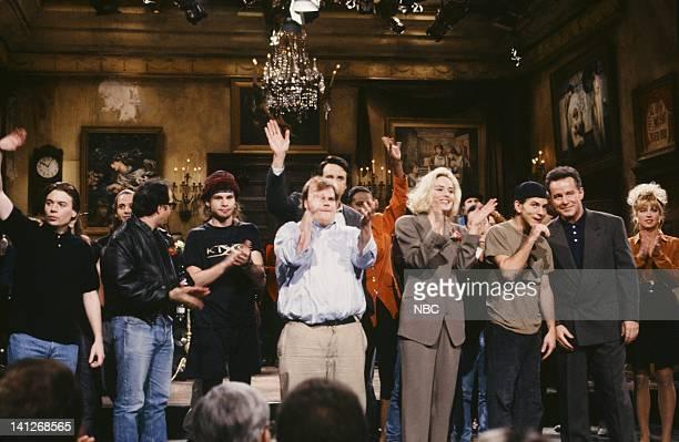 Mike Myers John Lovitz Chris Farley Sharon Stone Eddie Vedder Phil Hartman onstage April 11 1992 Photo by Alan Singer/NBCU Photo Bank