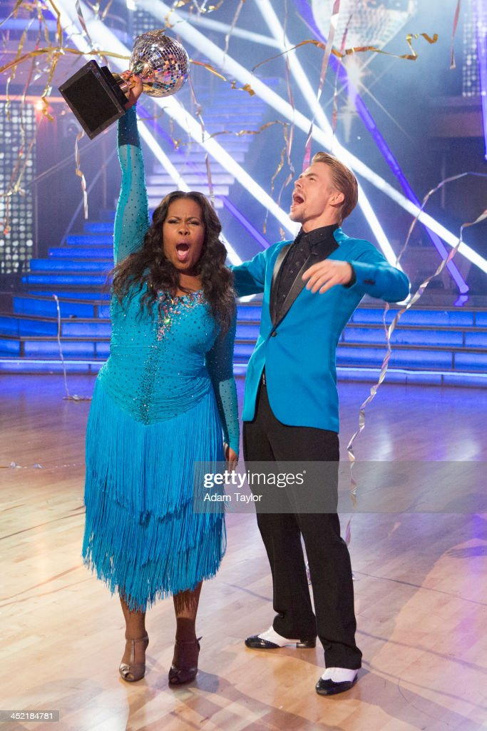 STARS - 'Episode 1711A' - Amber Riley and Derek Hough were crowned Season 17 Champions and awarded the coveted Mirror Ball Trophy, on the two-hour Season Finale on 'Dancing with the Stars,' TUESDAY, NOVEMBER 26 (9:00-11:00 p.m., ET), on ABC. (Photo by Adam Taylor/ABC via Getty Images)AMBER