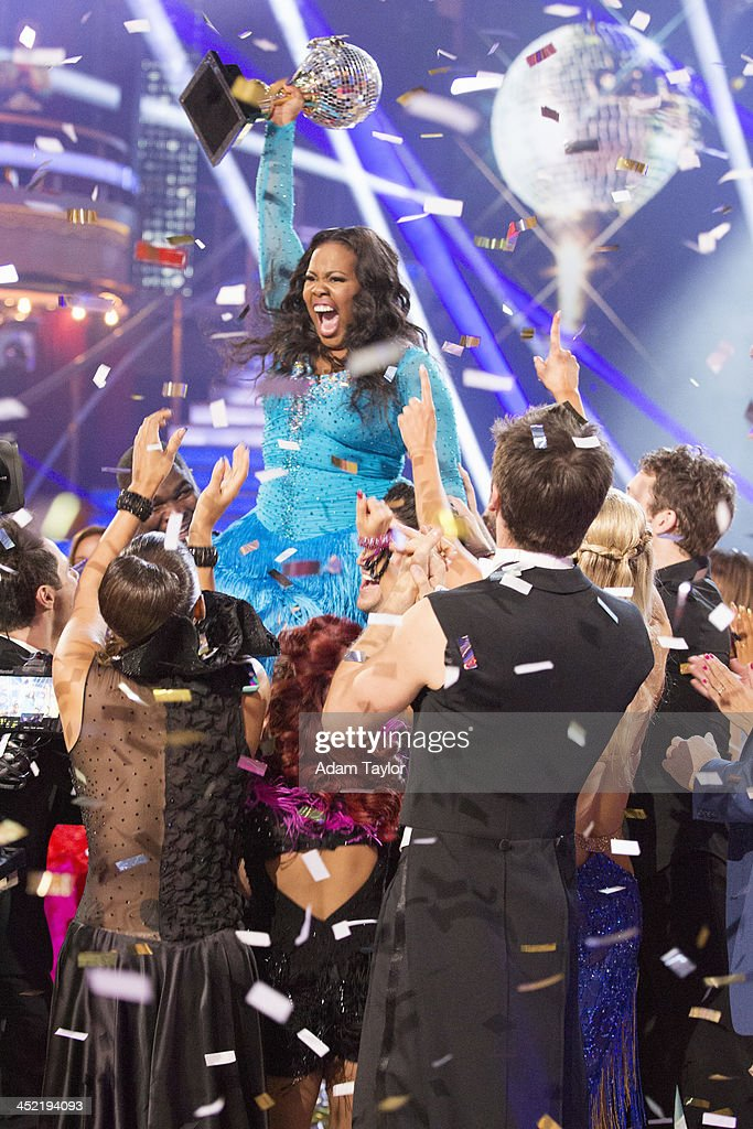 STARS - 'Episode 1711A' - Amber Riley and Derek Hough were crowned Season 17 Champions and awarded the coveted Mirror Ball Trophy, on the two-hour Season Finale on 'Dancing with the Stars,' TUESDAY, NOVEMBER 26 (9:00-11:00 p.m., ET), on ABC. AMBER