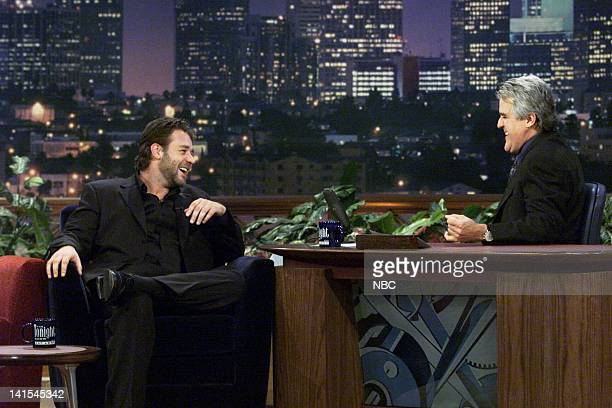 Actor Russell Crowe during an interview with host Jay Leno on November 10 1999 Photo by NBC/NBCU Photo Bank