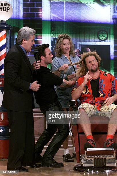 Host Jay Leno Jonathan Antin hairdresser and musician Sammy Hagar during 'Who Wants to Cut a Million Hairs w/Sammy Hagar' on November 12 1999 Photo...