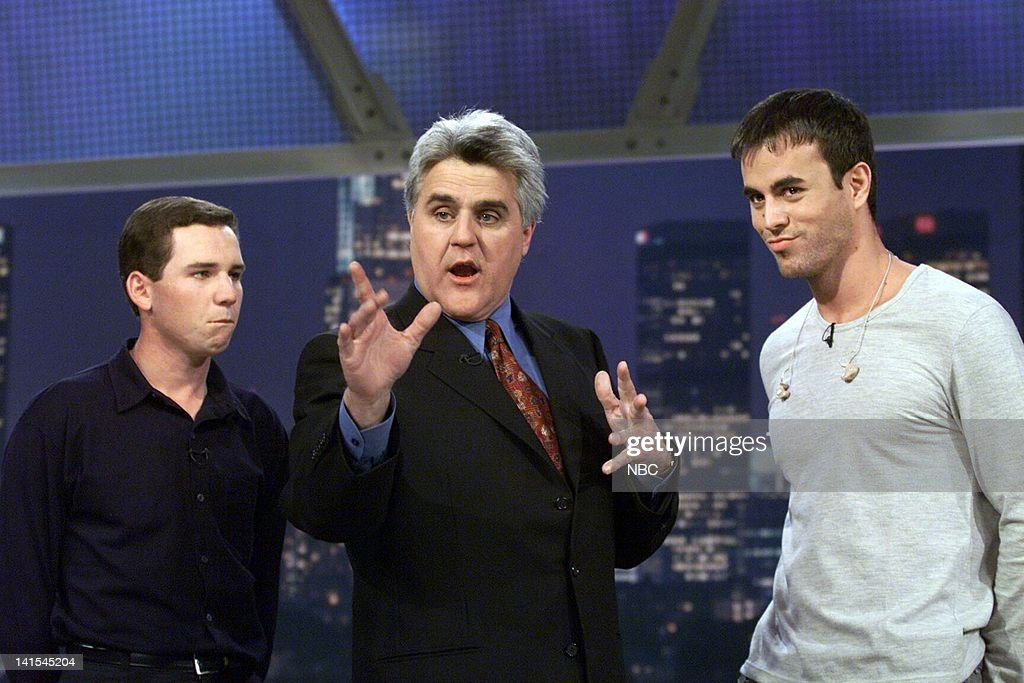 Golfer Sergio Garcia host Jay Leno and musical guest Enrique Iglesias on November 24 1999 Photo by NBC/NBCU Photo Bank
