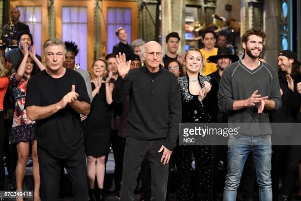 Alec Baldwin Larry David Miley Cyrus Liam Hemsworth during 'Goodnights Credits' in Studio 8H on Saturday November 4 2017