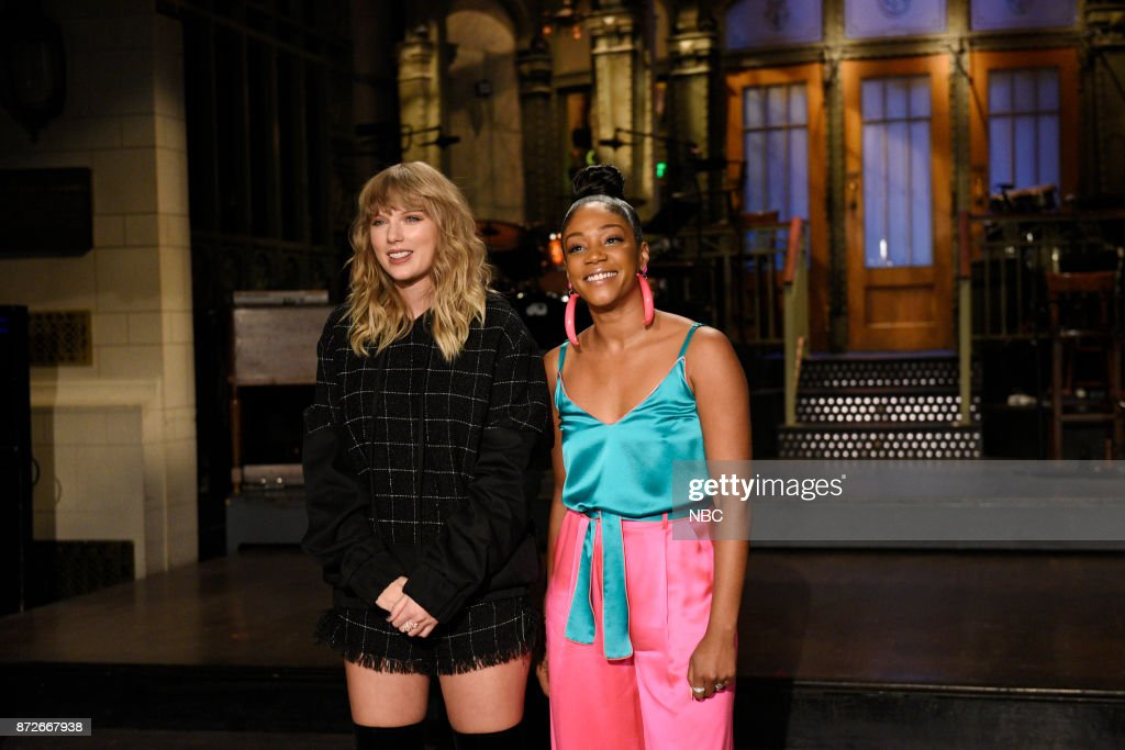Musical Guest Taylor Swift with Host Tiffany Haddish during a promo in 30 Rockefeller Plaza --