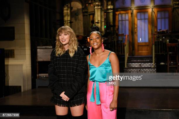 Musical Guest Taylor Swift with Host Tiffany Haddish during a promo in 30 Rockefeller Plaza