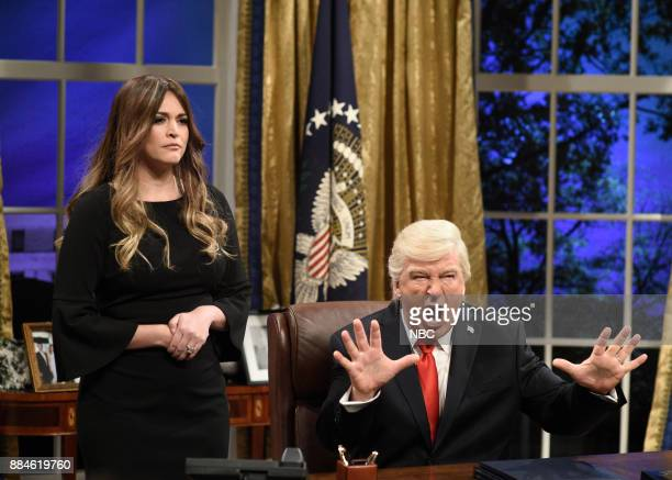 Cecily Strong as First Lady Melania Trump Alec Baldwin as President Donald J Trump during 'White House Cold Open' in Studio 8H on Saturday December 2...