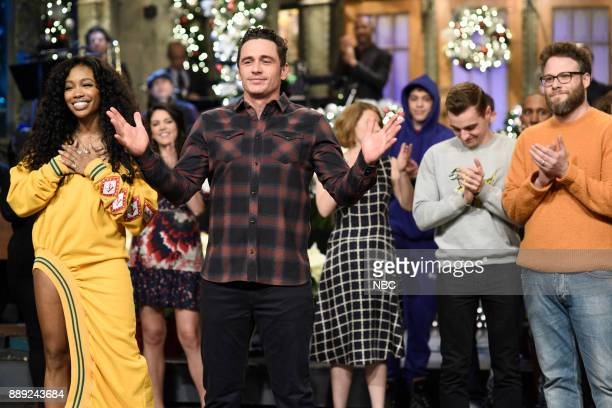 Musical Guest SZA James Franco Seth Rogen during 'Goodnights Credits' in Studio 8H on Saturday December 9 2017