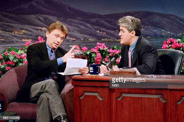 'Wheel of Fortune' host Pat Sajak during an interview with host Jay Leno on February 19 1993