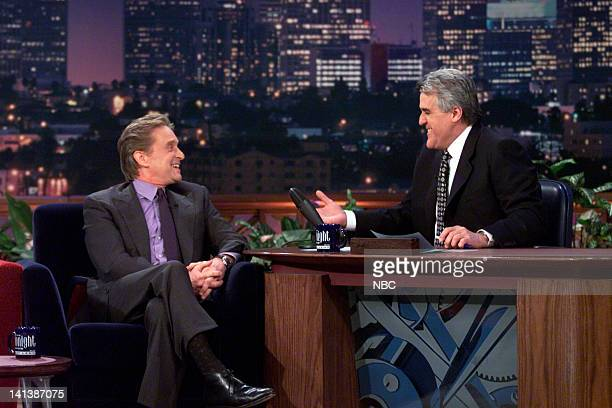 Actor Michael Douglas during an interview with host Jay Leno on February 24 2000