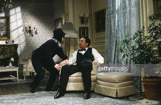 Jan Hooks as Greta Garbo Alec Baldwin as James O'Brien during 'The Garbo I knew' skit on April 21 1990 Photo by Alan Singer/NBCU Photo Bank