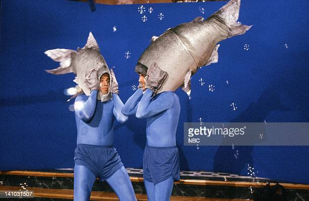 Kevin Nealon as Salmon Mark Harmon as Salmon during the 'Salmon Spawning' skit on May 9 1987 Photo by Alan Singer/NBC/NBCU Photo Bank