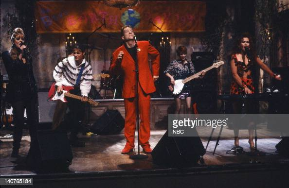 Musical guests B52s perform on April 21 1990 Photo by Alan Singer/NBCU Photo Bank