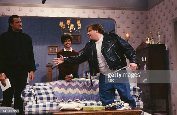 Steven Seagal as Mr Novack Jan Hooks Mrs Novack Chris Farley as Doug during the 'Jennifer's Date' skit on April 20 1991 Photo by Alan Singer/NBC/NBCU...