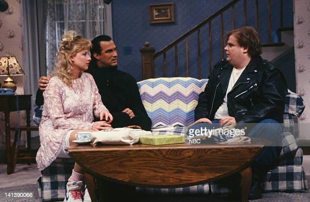 Victoria Jackson as Jennifer Steven Seagal as Mr Novack Chris Farley as Doug during the 'Jennifer's Date' skit on April 20 1991 Photo by Alan...