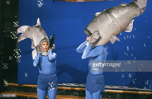 Victoria Jackson as Salmon Mark Harmon as Salmon during the 'Salmon Spawning' skit on May 9 1987 Photo by Alan Singer/NBC/NBCU Photo Bank