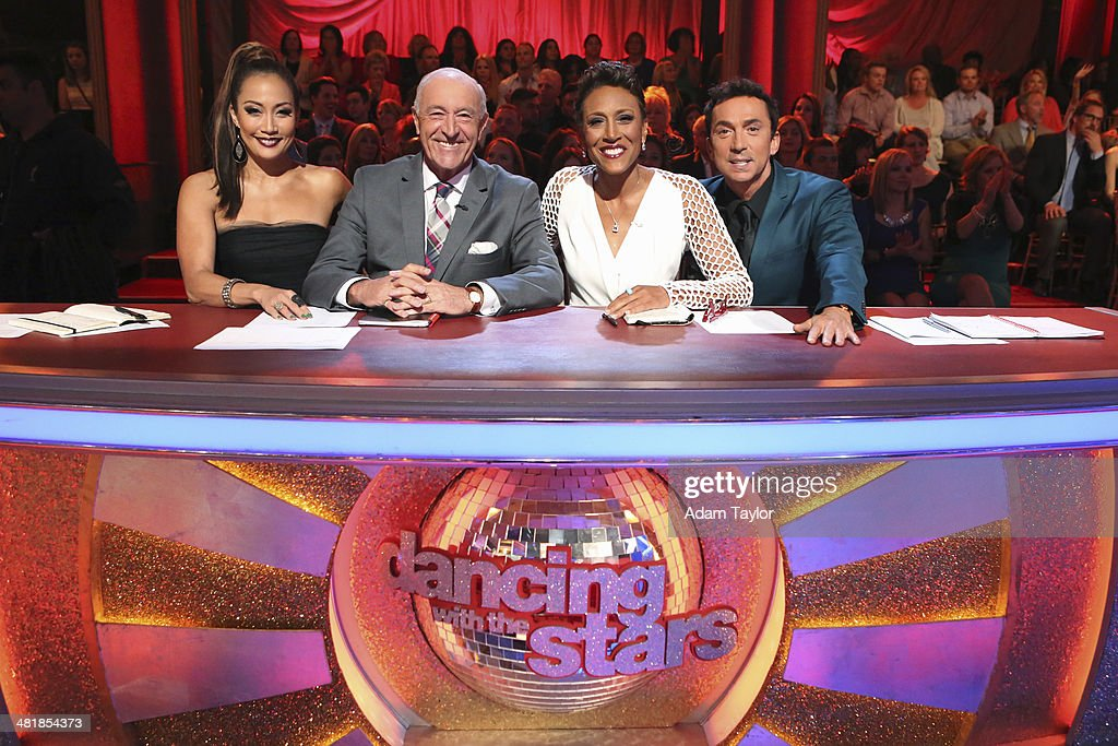 STARS - 'Episode 1803' - 'Good Morning America' anchor Robin Roberts was a guest judge for the first time alongside <a gi-track='captionPersonalityLinkClicked' href=/galleries/search?phrase=Len+Goodman&family=editorial&specificpeople=742714 ng-click='$event.stopPropagation()'>Len Goodman</a>, <a gi-track='captionPersonalityLinkClicked' href=/galleries/search?phrase=Bruno+Tonioli&family=editorial&specificpeople=742704 ng-click='$event.stopPropagation()'>Bruno Tonioli</a> and <a gi-track='captionPersonalityLinkClicked' href=/galleries/search?phrase=Carrie+Ann+Inaba&family=editorial&specificpeople=637379 ng-click='$event.stopPropagation()'>Carrie Ann Inaba</a> on 'Dancing with the Stars,' MONDAY, MARCH 31 (8:00-10:01 p.m., ET). The remaining 10 celebrities commemorated 'The Most Memorable Year Of Their Life.' Each couple danced to a song of the celebrities choosing that encompassed a memorable time or experience in their life. CARRIE