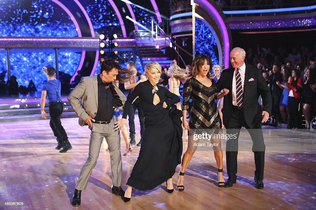 STARS - 'Episode 1804' - For the first time ever celebrities switched professional dance partners on 'Dancing with the Stars,' MONDAY, APRIL 7 (8:00-10:01 p.m., ET) on the ABC Television Network. This past week, America was given the power to vote and change celebrity and professional dance pairings and each star faced this new challenge. The new couples were revealed live for the first time throughout the evening. Additionally, two-time professional 'Dancing with the Stars' champion, <a gi-track='captionPersonalityLinkClicked' href=/galleries/search?phrase=Julianne+Hough&family=editorial&specificpeople=4237560 ng-click='$event.stopPropagation()'>Julianne Hough</a>, returned to guest judge for the second time alongside <a gi-track='captionPersonalityLinkClicked' href=/galleries/search?phrase=Len+Goodman&family=editorial&specificpeople=742714 ng-click='$event.stopPropagation()'>Len Goodman</a>, <a gi-track='captionPersonalityLinkClicked' href=/galleries/search?phrase=Bruno+Tonioli&family=editorial&specificpeople=742704 ng-click='$event.stopPropagation()'>Bruno Tonioli</a> and <a gi-track='captionPersonalityLinkClicked' href=/galleries/search?phrase=Carrie+Ann+Inaba&family=editorial&specificpeople=637379 ng-click='$event.stopPropagation()'>Carrie Ann Inaba</a>. BRUNO