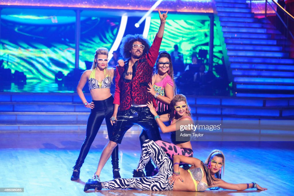 STARS - 'Episode 1806' - It's an all out celebration on 'Dancing with the Stars' as the celebrities got the party started MONDAY, APRIL 21 (8:00-10:01 p.m., ET) on the ABC Television Network. The show kicked off with a spectacular opening performance followed by each couple dancing to some of the greatest party anthems of all time. Additionally, LMFAO frontman <a gi-track='captionPersonalityLinkClicked' href=/galleries/search?phrase=Redfoo&family=editorial&specificpeople=5857552 ng-click='$event.stopPropagation()'>Redfoo</a> was the guest judge alongside Len Goodman, Bruno Tonioli and Carrie Ann Inaba. SLATER