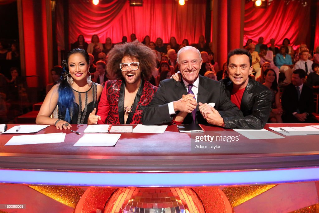STARS - 'Episode 1806' - It's an all out celebration on 'Dancing with the Stars' as the celebrities got the party started MONDAY, APRIL 21 (8:00-10:01 p.m., ET) on the ABC Television Network. The show kicked off with a spectacular opening performance followed by each couple dancing to some of the greatest party anthems of all time. Additionally, LMFAO frontman <a gi-track='captionPersonalityLinkClicked' href=/galleries/search?phrase=Redfoo&family=editorial&specificpeople=5857552 ng-click='$event.stopPropagation()'>Redfoo</a> was the guest judge alongside <a gi-track='captionPersonalityLinkClicked' href=/galleries/search?phrase=Len+Goodman&family=editorial&specificpeople=742714 ng-click='$event.stopPropagation()'>Len Goodman</a>, <a gi-track='captionPersonalityLinkClicked' href=/galleries/search?phrase=Bruno+Tonioli&family=editorial&specificpeople=742704 ng-click='$event.stopPropagation()'>Bruno Tonioli</a> and <a gi-track='captionPersonalityLinkClicked' href=/galleries/search?phrase=Carrie+Ann+Inaba&family=editorial&specificpeople=637379 ng-click='$event.stopPropagation()'>Carrie Ann Inaba</a>. TONIOLI