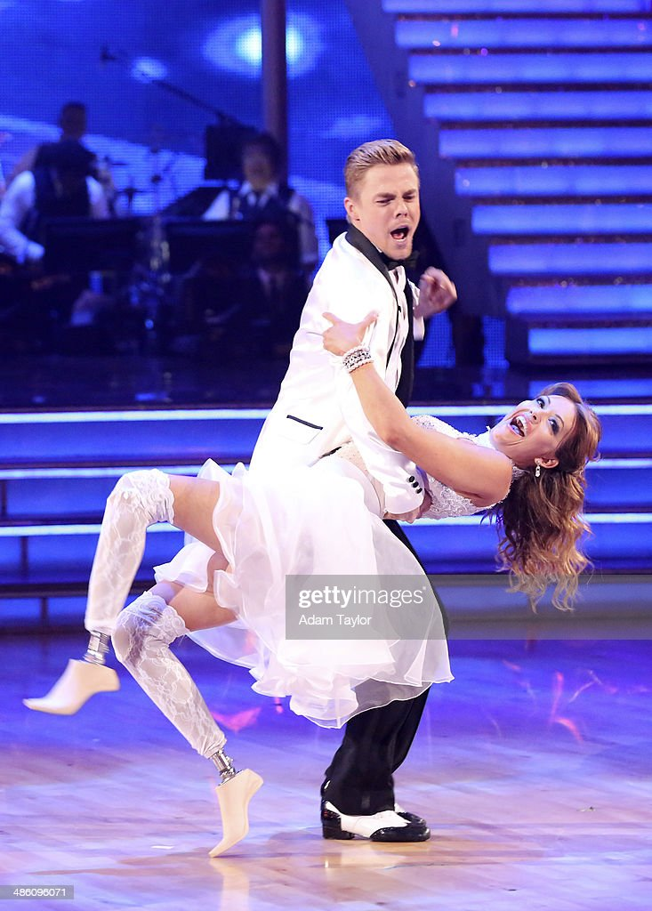 STARS - 'Episode 1806' - It's an all out celebration on 'Dancing with the Stars' as the celebrities got the party started MONDAY, APRIL 21 (8:00-10:01 p.m., ET) on the ABC Television Network. The show kicked off with a spectacular opening performance followed by each couple dancing to some of the greatest party anthems of all time. Additionally, LMFAO frontman Redfoo was the guest judge alongside Len Goodman, Bruno Tonioli and Carrie Ann Inaba. (Photo by Adam Taylor/ABC via Getty Images) DEREK HOUGH, AMY PURDY