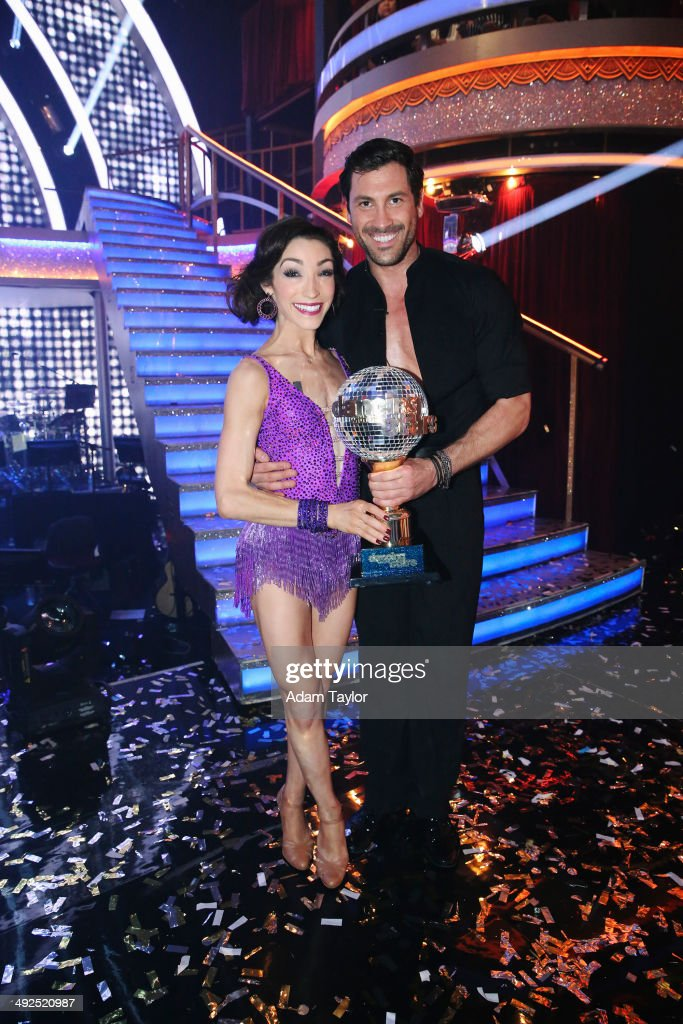 STARS - 'Episode 1810A' - At the end of the night, Meryl Davis and Maksim Chmerkovskiy were crowned the Season 18 Champions, on the Season Finale, TUESDAY, MAY 20 (9:00-11:00 p.m., ET) on the ABC Television Network. (Photo by Adam Taylor/ABC via Getty Images)MERYL