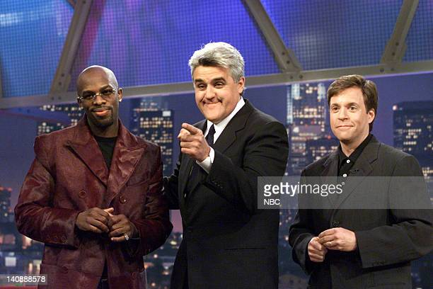 Musical guest Joe host Jay Leno and sportscaster Bob Costas on April 17 2000