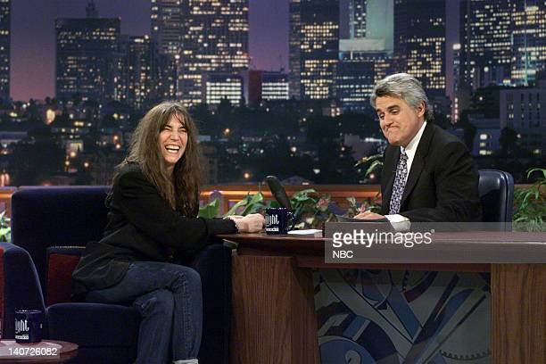 Musical guest Patti Smith during an interview with host Jay Leno on April 11 2000