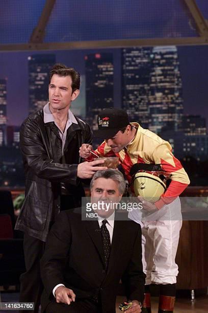 Musician Chris Isaak host Jay Leno jockey Kent Desormeaux on May 9 2000