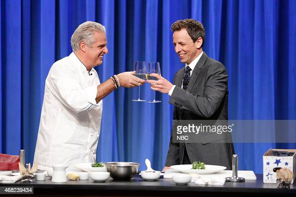 Chef Eric Ripert cooks with host Seth Meyers on March 31 2015